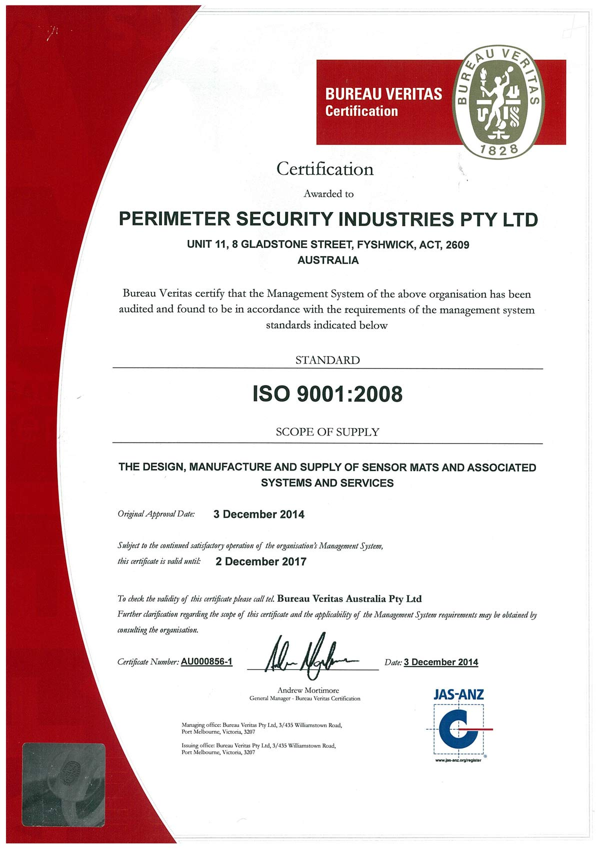 Psi Awarded Qa Certification Perimeter Security Industries
